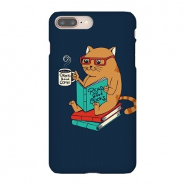 iPhone 8/7 plus  Cat drink good coffee read good books by Coffee Man (cat, catas,read, books, coffee, coffee lovers,animals,cute, adorable,funny,pet, pets lover,kitty,nerd,cat lady)