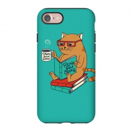 iPhone 8/7  Cat coffee and books by Coffee Man (CAT, CATS, READ, BOOK,S COFFEE, COFFEE LOVERS, ANIMALS, CUTE, ADORABLE, FUNNY, PET, PETS, LOVER, KITTY, NERD, CAT LADY)