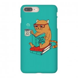 iPhone 8/7 plus  Cat coffee and books by Coffee Man (CAT, CATS, READ, BOOK,S COFFEE, COFFEE LOVERS, ANIMALS, CUTE, ADORABLE, FUNNY, PET, PETS, LOVER, KITTY, NERD, CAT LADY)