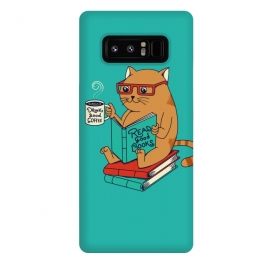 Galaxy Note 8  Cat coffee and books by Coffee Man (CAT, CATS, READ, BOOK,S COFFEE, COFFEE LOVERS, ANIMALS, CUTE, ADORABLE, FUNNY, PET, PETS, LOVER, KITTY, NERD, CAT LADY)