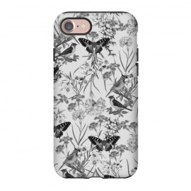 iPhone 8/7  My Fantasy (Greyscale) by Zala Farah (designer floral print, floral, botanic, garden, flowers, flower art, floral print, floral collage, pretty, garden art, botanical, lush, tropical, exotic, pretty flowers, lush garden, blossom, blooming, summer vibes, spring flowers, summer, spring,grey,gray,dull,dull flowers,gray flowers,grey flowers)