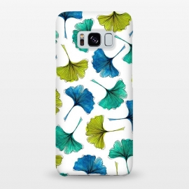Galaxy S8+  Ginkgo Flush by Amaya Brydon (ginkgo,botanical,pattern,nature,aqua,green,blue,leaves)