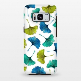 Galaxy S8 plus  Ginkgo Flush by  (ginkgo,botanical,pattern,nature,aqua,green,blue,leaves)