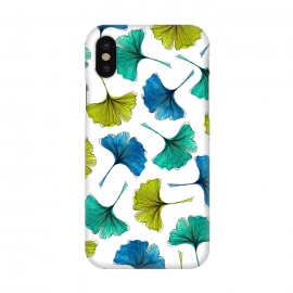 iPhone X  Ginkgo Flush by Amaya Brydon (ginkgo,botanical,pattern,nature,aqua,green,blue,leaves)