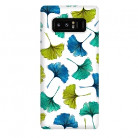 Galaxy Note 8  Ginkgo Flush by Amaya Brydon (ginkgo,botanical,pattern,nature,aqua,green,blue,leaves)