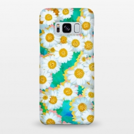 Galaxy S8+  Isabella by Uma Prabhakar Gokhale (graphic, pattern, watercolor, floral, flowers, daisy, gold, metallic, shine, exotic, feminine, pretty, yellow, green, blue, pink, blossom, bloom)