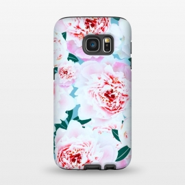 Galaxy S7  Annie by Uma Prabhakar Gokhale (graphic, pattern, floral, flowers, pink, blush, blossom, bloom, leaves, green, grey, nature, botanical, tropical, rose, exotic)