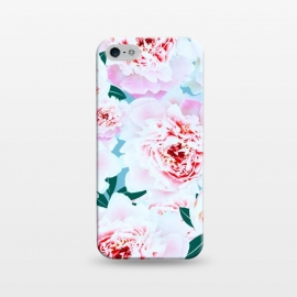 iPhone 5/5E/5s  Annie by Uma Prabhakar Gokhale (graphic, pattern, floral, flowers, pink, blush, blossom, bloom, leaves, green, grey, nature, botanical, tropical, rose, exotic)