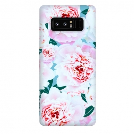 Galaxy Note 8  Annie by Uma Prabhakar Gokhale (graphic, pattern, floral, flowers, pink, blush, blossom, bloom, leaves, green, grey, nature, botanical, tropical, rose, exotic)