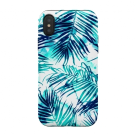 iPhone Xs / X  Tropical Heaven v1 by  (watercolor, pattern, palm, tropical, palm leaves, beach, island, sea, summer, exotic, leaves, nature)