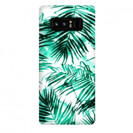 Galaxy Note 8  Tropical Heaven-v2 by  (pattern, watercolor, palm, tropical, exotic, nature, botanical, green, leaves)