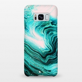 Galaxy S8+  Agata by Uma Prabhakar Gokhale (graphic, acrylic, agate, nature, contrast, blue, black, pink exotic waves abstract)