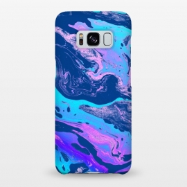 Galaxy S8+  Marbellous by Uma Prabhakar Gokhale (graphic, pattern, oil, paint filter, paint effect, marble, paper marble, exotic, bold, colorful, blue, purple, ocean, sea, dark)