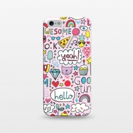 iPhone 5/5E/5s  Good Times Pink by Kimrhi Studios (hello,pizza,rainbow,star,ice cream,lollipop,lips,doodle,boom)