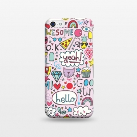 iPhone 5C  Good Times Pink by Kimrhi Studios (hello,pizza,rainbow,star,ice cream,lollipop,lips,doodle,boom)