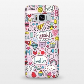 Galaxy S8+  Good Times Pink by Kimrhi Studios (hello,pizza,rainbow,star,ice cream,lollipop,lips,doodle,boom)