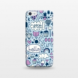 iPhone 5C  Good Times Blue by Kimrhi Studios (pizza,cloud,rainbow,lips,doodle,gem,lollipop,fun,pineapple)