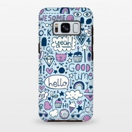 Galaxy S8+  Good Times Blue by Kimrhi Studios (pizza,cloud,rainbow,lips,doodle,gem,lollipop,fun,pineapple)