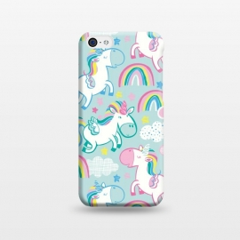 iPhone 5C  Unicorn Surprise by Kimrhi Studios (stars,unicorn,clouds,flying,wings,bubblegum,rainbow)