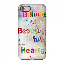 iPhone 8/7  We are Billions of Beautiful Hearts by Bettie * Blue (words,song,lyrics,Pink,gray,quote,colorful,font,text,love,romantic)