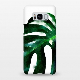 Galaxy S8+  Fresh Leaves by Uma Prabhakar Gokhale (watercolor, tropical, monstera, leaf, leaves, botanical, nature, fresh, green, exotic, white)