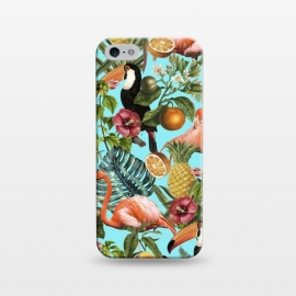 iPhone 5/5E/5s  The Tropics v2 by Uma Prabhakar Gokhale (graphic, pattern, tropical, fruit, food, delicious, nature, botanical, birds, flamingo, pineapple, floral, blossom, blue, teal, pink, green, monstera, toucan)