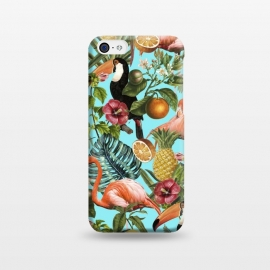 iPhone 5C  The Tropics v2 by Uma Prabhakar Gokhale (graphic, pattern, tropical, fruit, food, delicious, nature, botanical, birds, flamingo, pineapple, floral, blossom, blue, teal, pink, green, monstera, toucan)
