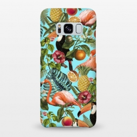 Galaxy S8+  The Tropics v2 by Uma Prabhakar Gokhale (graphic, pattern, tropical, fruit, food, delicious, nature, botanical, birds, flamingo, pineapple, floral, blossom, blue, teal, pink, green, monstera, toucan)