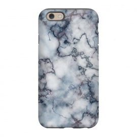 iPhone 6/6s  Blue and Silver Veined Marble by Olga Khomenko