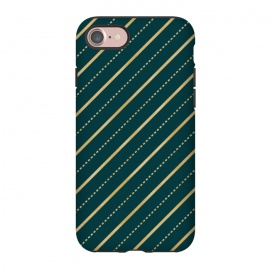 iPhone 8/7  Teal and Gold Diagonal Stripes by Olga Khomenko