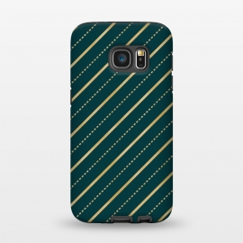 Galaxy S7  Teal and Gold Diagonal Stripes by Olga Khomenko