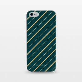 iPhone 5/5E/5s  Teal and Gold Diagonal Stripes by Olga Khomenko