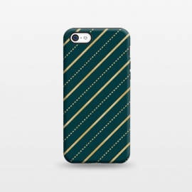 iPhone 5C  Teal and Gold Diagonal Stripes by Olga Khomenko