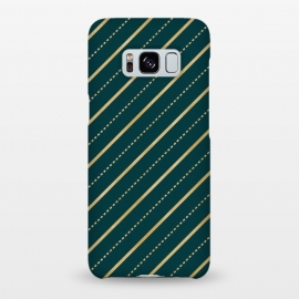 Galaxy S8+  Teal and Gold Diagonal Stripes by Olga Khomenko