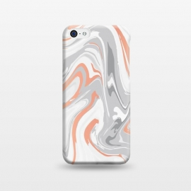 iPhone 5C  Liquid White Marble and Copper 017 by Jelena Obradovic
