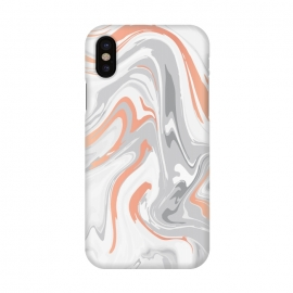 iPhone X  Liquid White Marble and Copper 017 by Jelena Obradovic