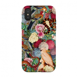 iPhone Xs / X  Floral and Animals pattern by Burcu Korkmazyurek (birds,snake,tropical,nature,garden,jungle,forest,animals,vintage,retro,oldschool,botanical)