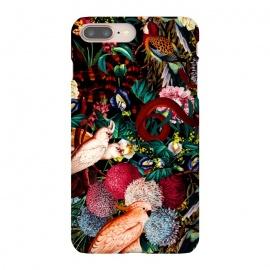 iPhone 8/7 plus  Floral and Animals pattern II by  (botanical,animals,garden,jungle,night,dark,black)
