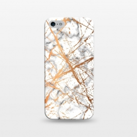 iPhone 5/5E/5s  Marble Texture and Gold Splatter 039 by Jelena Obradovic