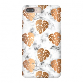 iPhone 8/7 plus  Golden Monstera on Marble Pattern 048 by