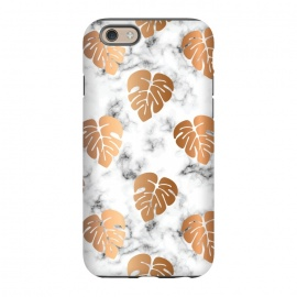 iPhone 6/6s  Golden Monstera on Marble Pattern 048 by Jelena Obradovic