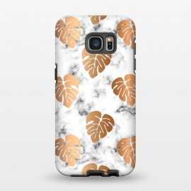 Galaxy S7 EDGE  Golden Monstera on Marble Pattern 048 by Jelena Obradovic