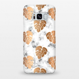 Galaxy S8+  Golden Monstera on Marble Pattern 048 by Jelena Obradovic