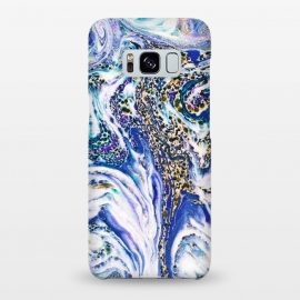 Galaxy S8+  Blue Acid by Uma Prabhakar Gokhale (graphic, pattern, marble, blue, ocean, gold, paper marble, paper marbling, abstract, exotic, white, multi color, vibrant)