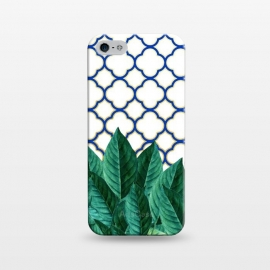 iPhone 5/5E/5s  Leaves & Tiles by Uma Prabhakar Gokhale (graphic, leaves, nature, morocco, moroccan, greece, greek, tiles, pattern, blue, navy blue, gold, golden, botanical, grow)