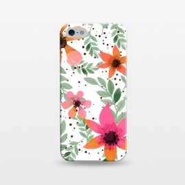 iPhone 5/5E/5s  Autumn Flora by Uma Prabhakar Gokhale (watercolor, pattern, autumn, oct17cb, floral, nature, leaves, flowers, blossom, botanical, fall, pink, blush, orange, green, white, minimal)
