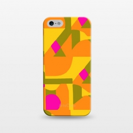iPhone 5/5E/5s  Geo Orange by Bettie * Blue (orange,geometric,unique,pop,pattern,bright colors,colorful,colorplay)