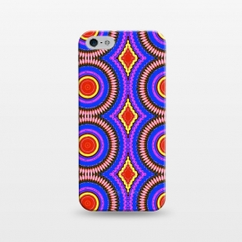 iPhone 5/5E/5s  Trip Mandala by Bettie * Blue (mandala,bright colors,pattern,red,purple,fun)