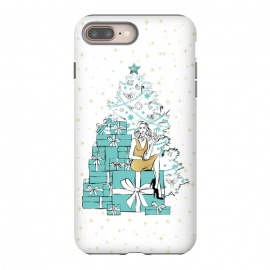 iPhone 8/7 plus  Christmas Tree with gifts by Martina (woman,lady,girl,feminine,girlie,festive,seasonal,celebration,holiday,xmas,christmas,stylish,modern,gifts,presents,drink,champagne,stars,tiffanys,party,tree,xmas tree,christmas tree,christmas eve)