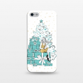iPhone 5/5E/5s  Christmas Tree with gifts by Martina (woman,lady,girl,feminine,girlie,festive,seasonal,celebration,holiday,xmas,christmas,stylish,modern,gifts,presents,drink,champagne,stars,tiffanys,party,tree,xmas tree,christmas tree,christmas eve)